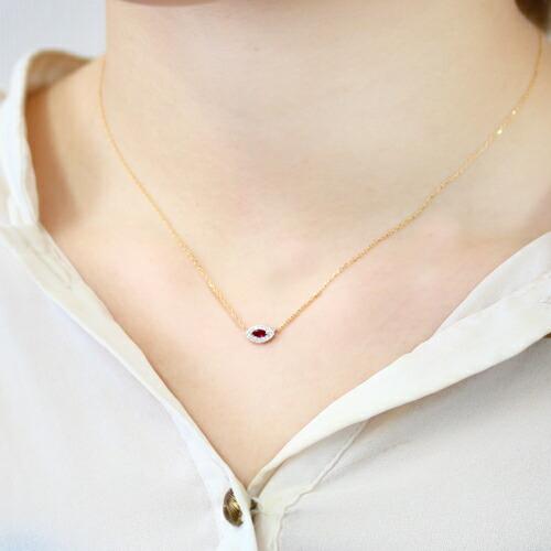 ミャンマー産ルビーの18金ネックレス