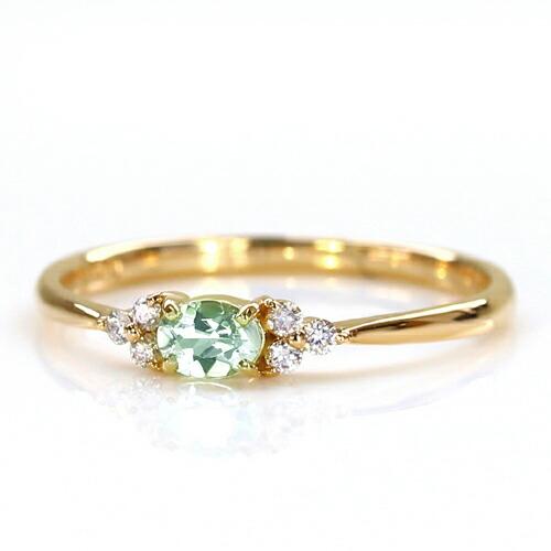ブラジル産アンブリゴナイト  トとダイヤモンドの18金リング