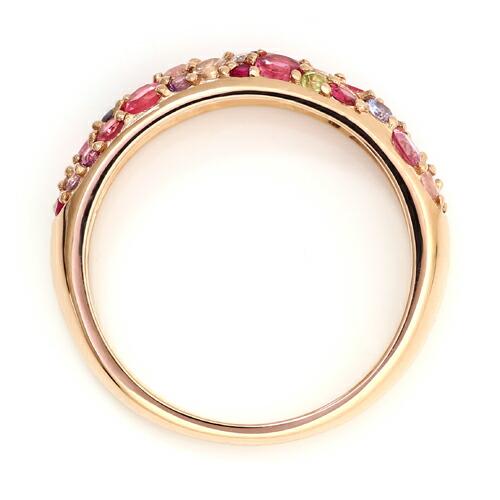 桜色マルチカラージュエル18金パヴェリング「サクラブーケ」の詳細