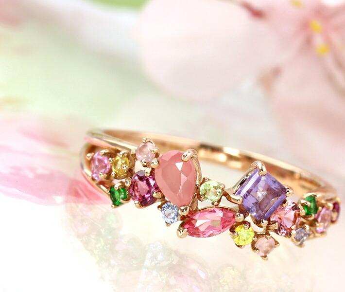 桜色マルチカラーストーン×18Kリング「サクラコフレ」