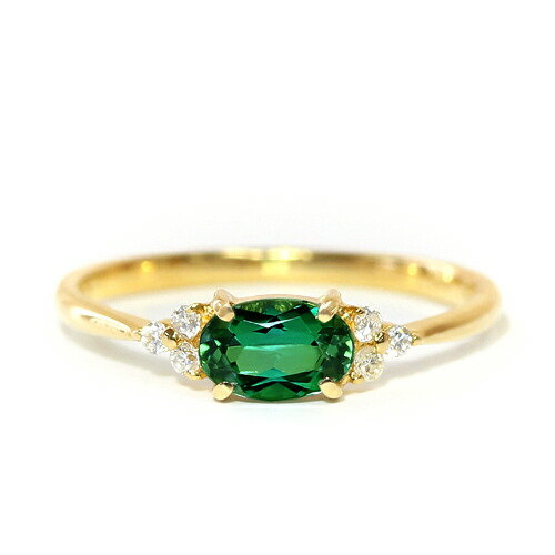 グリーントルマリン  トとダイヤモンドの18金リング