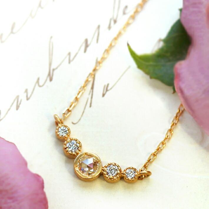 ローズカットダイヤモンドの18金ネックレス