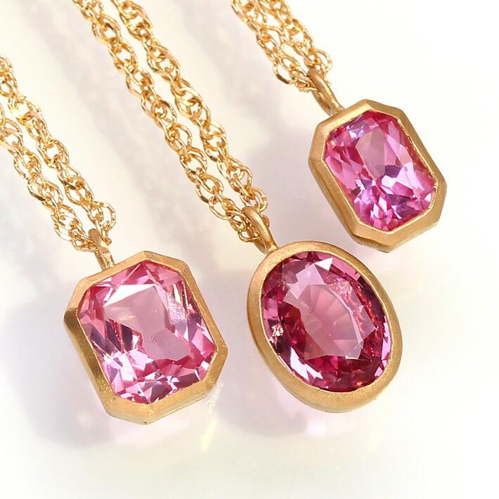 パパラチアサファイアとテーパーカットダイヤモンドのK18ネックレス