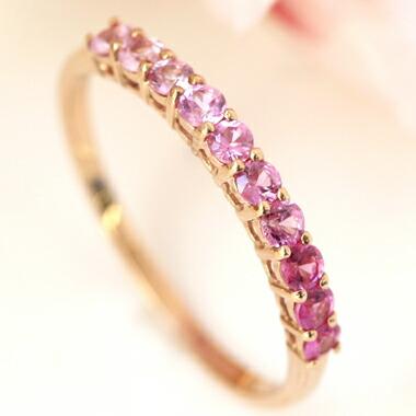ピンクサファイア K10 リング レディース 指輪 桜色 グラデーション エタニティリング 華奢 シンプル 重ねづけ 10K 10金 ホワイトゴールド さくら 宝石 おしゃれ