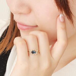 ロンドンブルートパーズ×ダイヤモンド×カラーゴールドリング 指輪