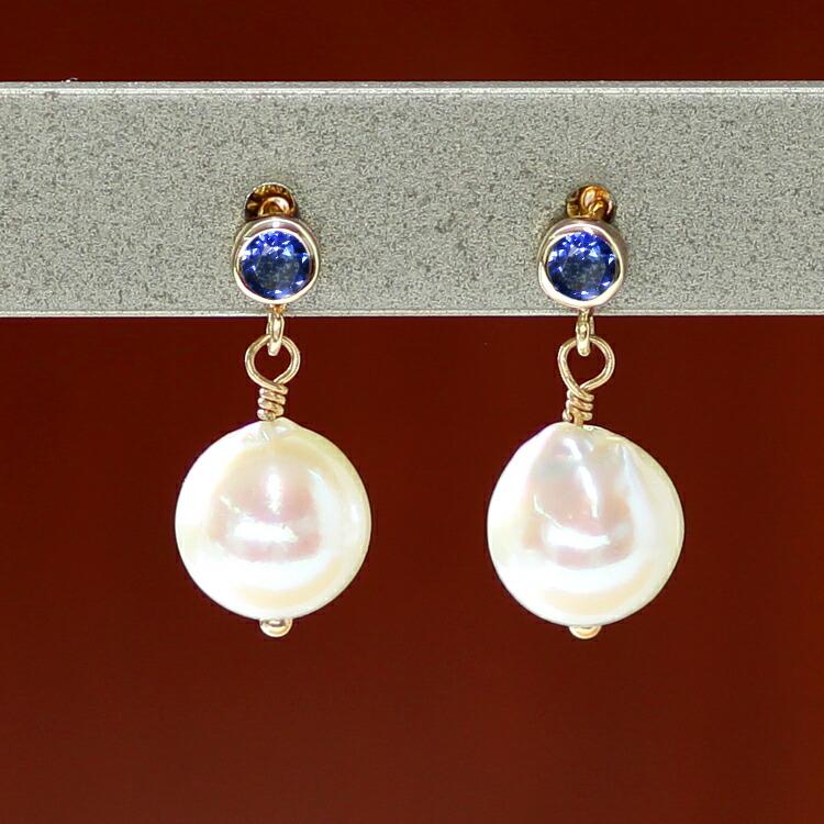 サファイア×あこや真珠のピアス