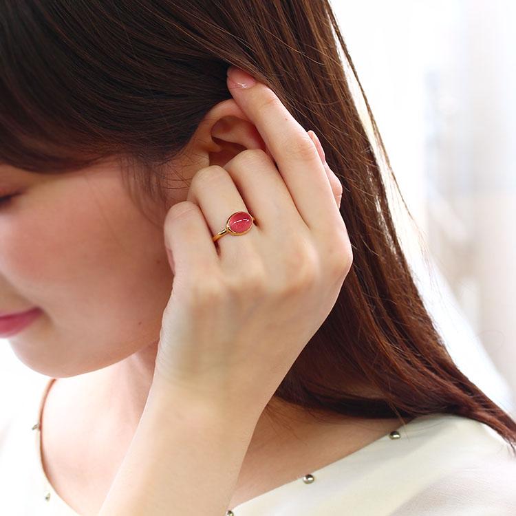 北海道産ロードクロサイト リング 10K ゴールド レディース 指輪 大粒 ボリューム ファッションリング インカローズ バラ色 通販 人気 おすすめ