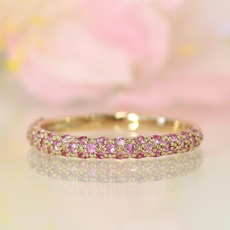 桜色 リング レディース ピンクサファイア 10金 ピンクゴールド 指輪 サファイヤ パヴェリング 誕生日プレゼント 女性 おしゃれ さくら ピンクグラデーション ジュエリー 10K K10 ブランド 宝石