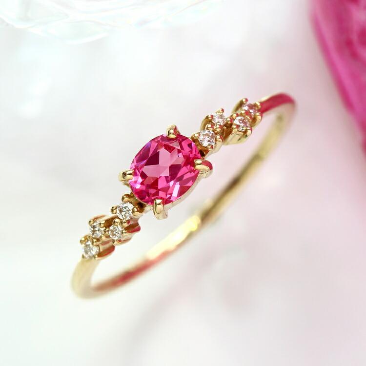 ピンクスピネル ダイヤモンド リング 指輪 ゴールド ネオンピンクスピネル K10 10金 高品質