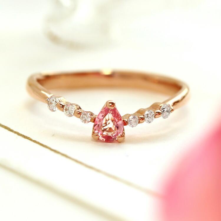 パパラチアサファイア ダイヤモンド リング 指輪 10K ゴールド イエローゴールド ピンクゴールド 9月誕生石 誕生日プレゼント 女性 華奢 ファッションリング シンプル かわいい