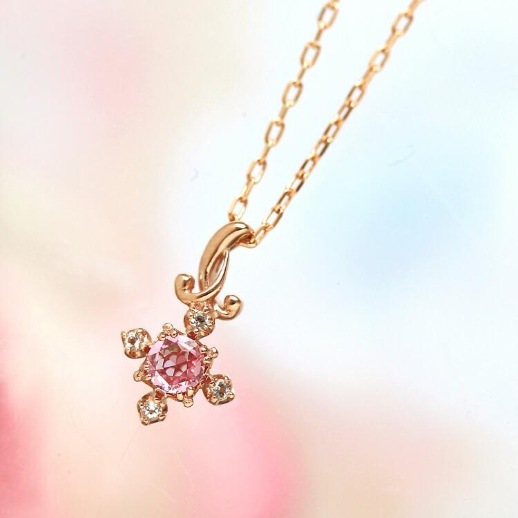 パパラチアサファイア ローズカット ホワイトトパーズ ネックレス 10K ピンクゴールド 誕生石  誕生日プレゼント 女性 ペンダント シンプル かわいい