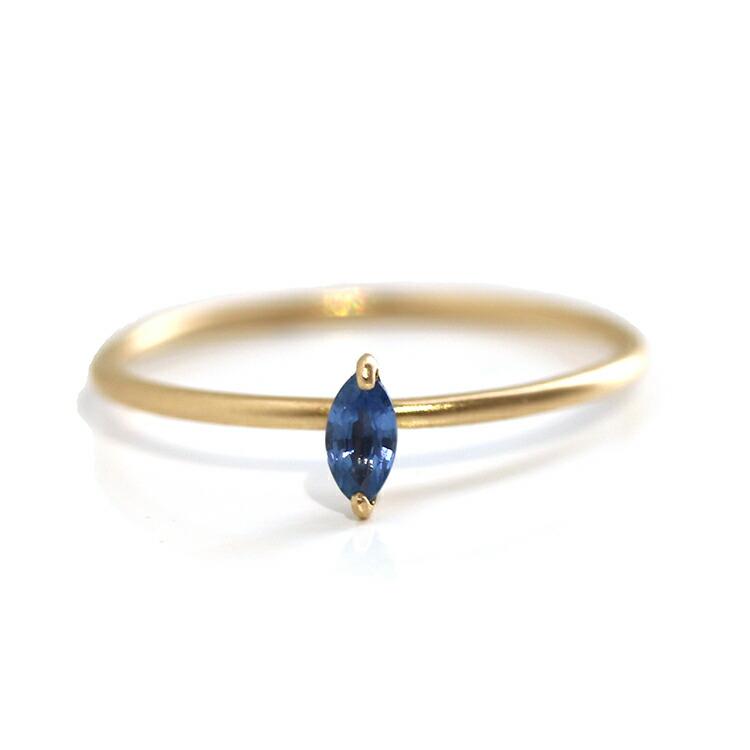 誕生石リング 一粒リング 指輪 K10 重ねづけ サファイア 誕生日プレゼント 女性 10K 10金 華奢 シンプル マーキスカット ジュエリー ブランド 宝石