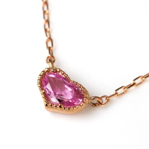 ピンクサファイアのハートネックレス