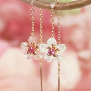 カラー蝶貝×ピンクゴールドピアス レディース
