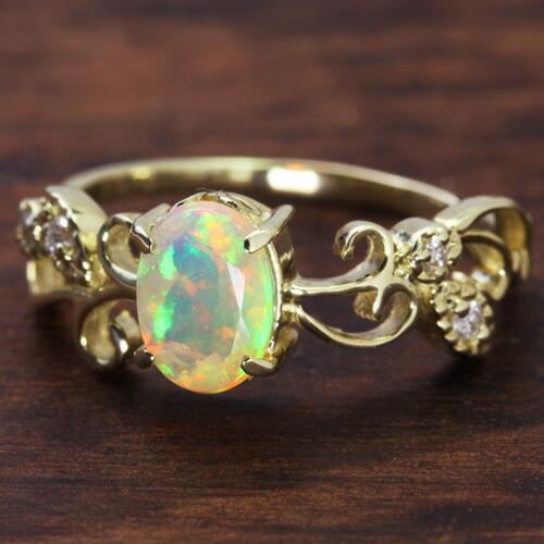 エチオピア産オパール/ダイヤモンド×K10カラーゴールドリング