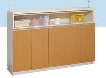 カウンター下収納庫 幅150cm×高さ90cm ホワイト&ライトブラウン
