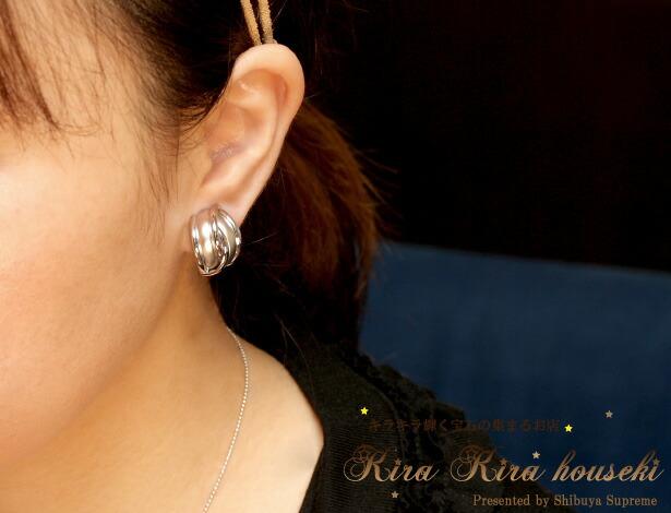 表情を華やかにさせてくれる上品さを感じさせるデザイン K14WG イヤリング キラキラ宝石店【地金イヤリング】【クリップ方式イヤリング】【送料無料】【即納可】