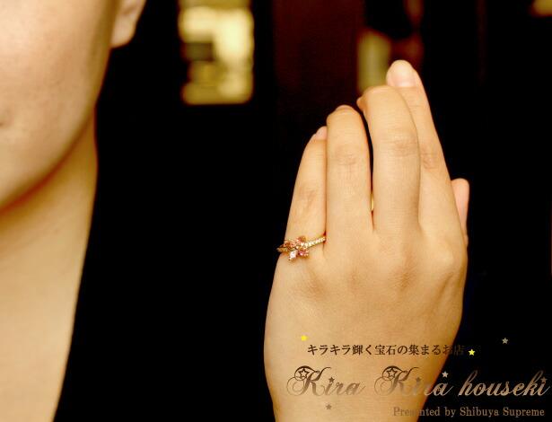 K18YG ピンクトルマリン リング キラキラ宝石店 ピンキーリング・小指の指輪【送料無料】【即納可能】10月の誕生石ピンクトルマリン