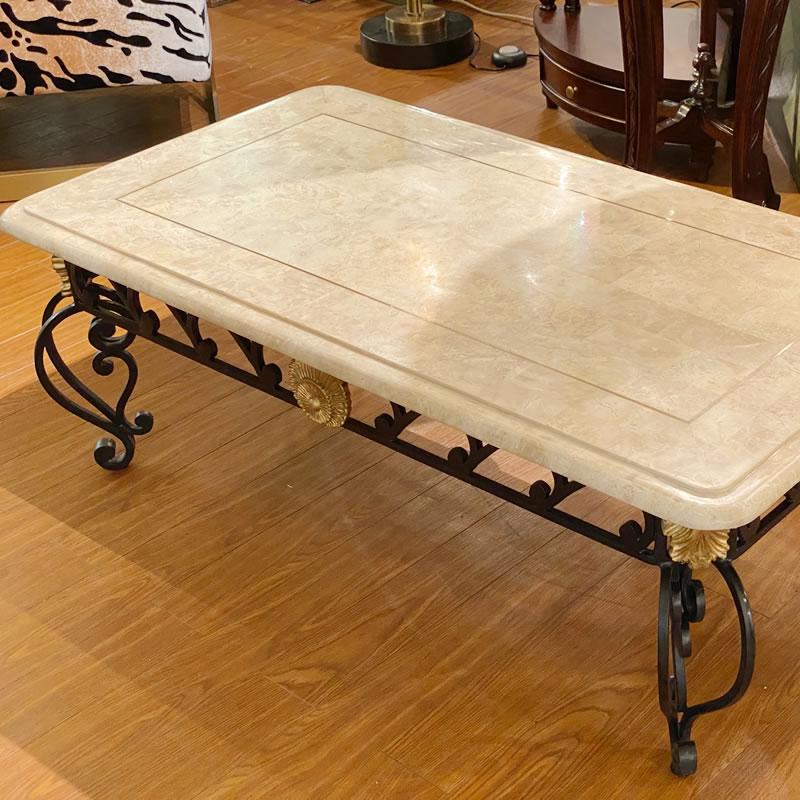 センターテーブル(大理石とアイアン脚)