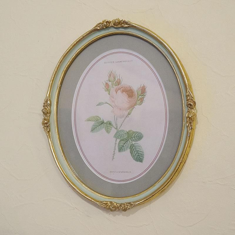 イタリア製 ルドゥーテ 薔薇 花 額絵 楕円 オーバル 壁掛け 額