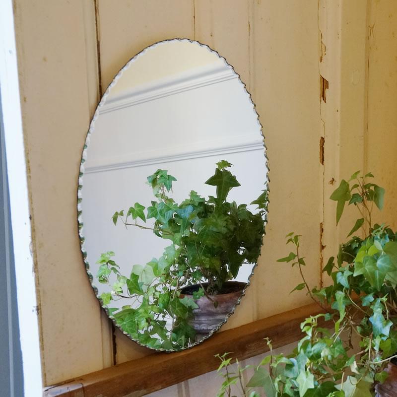 オーバル 鏡 シンプルモダンミラー 壁掛け ワイヤー付き