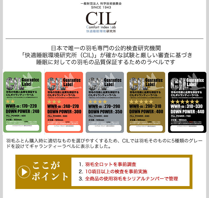 日本で唯一の羽毛専門の公的検査研究機関「快適睡眠環境研究所(CIL)」が確かな試験と厳しい審査に基づき睡眠に対しての羽毛の品質保証するためのラベルです