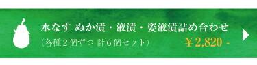 水なす ぬか漬け・駅漬け・姿液漬詰め合わせ 計6個¥2820