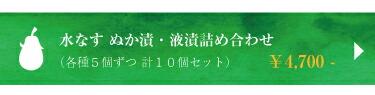水なす ぬか漬け・駅漬け・姿液漬詰め合わせ 計10個¥4700