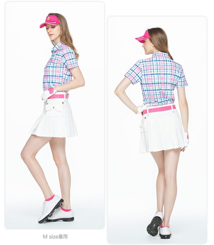 ポーチ付きボックスプリーツスカート ゴルフウェア レディース ゴルフスカート インナーパンツ付き 裏地付き 全9色 M/L 大きいサイズ
