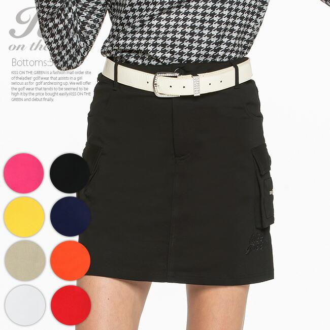 インナーパンツ付カーゴスカート 丈長め ゴルフウェア レディース ゴルフスカート インナーパンツ付き 裏地付き 全9色 M/L 大きいサイズ