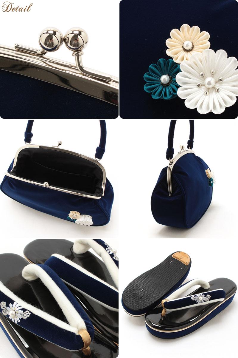 桃刺繍の振袖用草履バッグセット