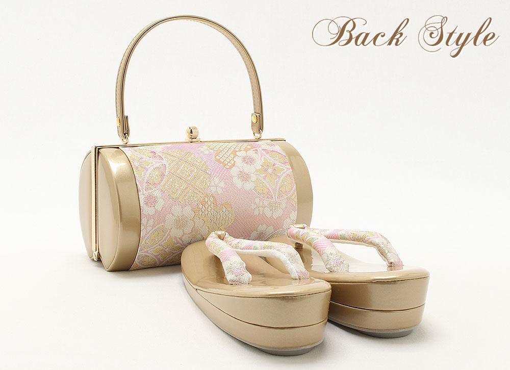 桜模様が可愛い振袖用草履バッグセット