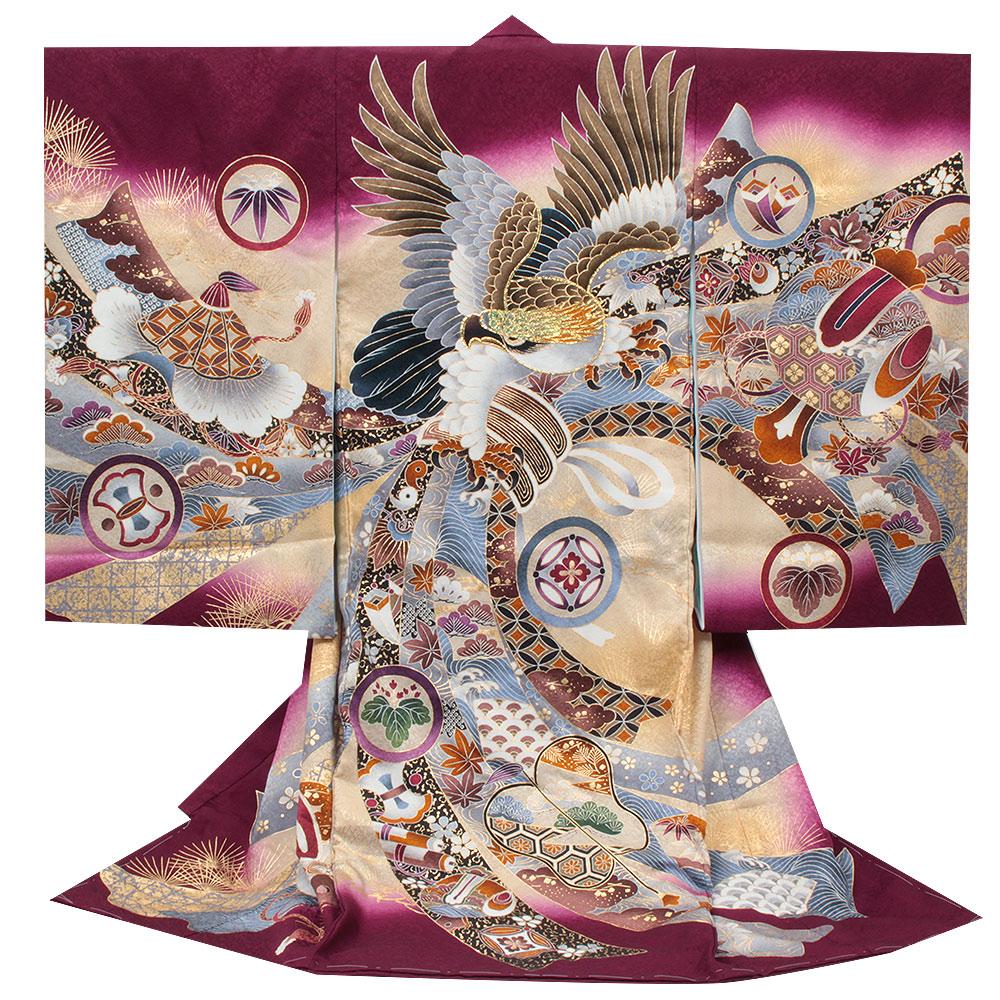鷹・松・鼓が描かれた紫地の着物 【お宮参り 男の子の着物・祝い着・産着】