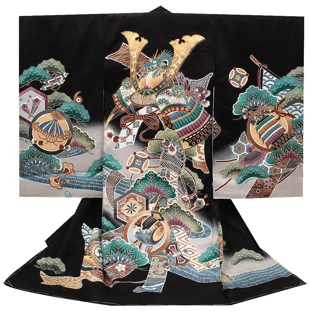 兜・松・鼓が描かれた黒地の着物 【お宮参り 男の子の着物・祝い着・産着】