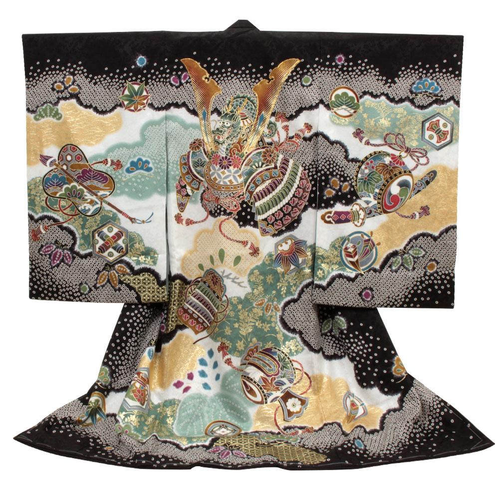 兜・小槌・鹿の子模様が描かれた黒地の着物 【お宮参り 男の子の着物・祝い着・産着】