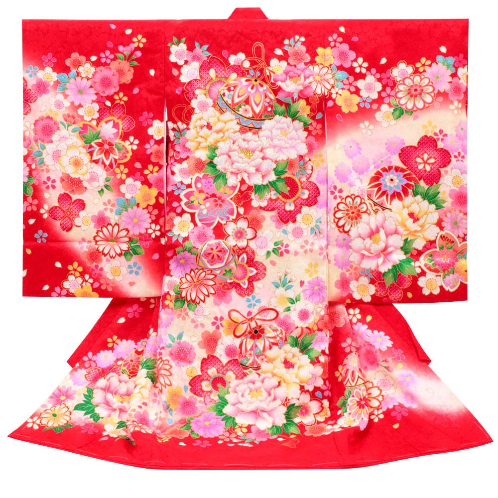 毬・牡丹・桜が描かれた赤地の着物 【お宮参り 女の子の着物・祝い着・産着】