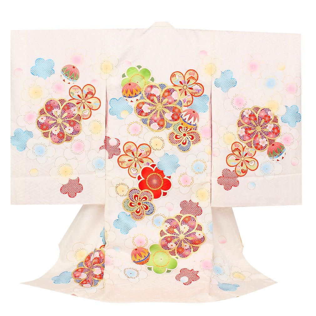 梅が描かれた白地の着物 【お宮参り 女の子の着物・祝い着・産着】