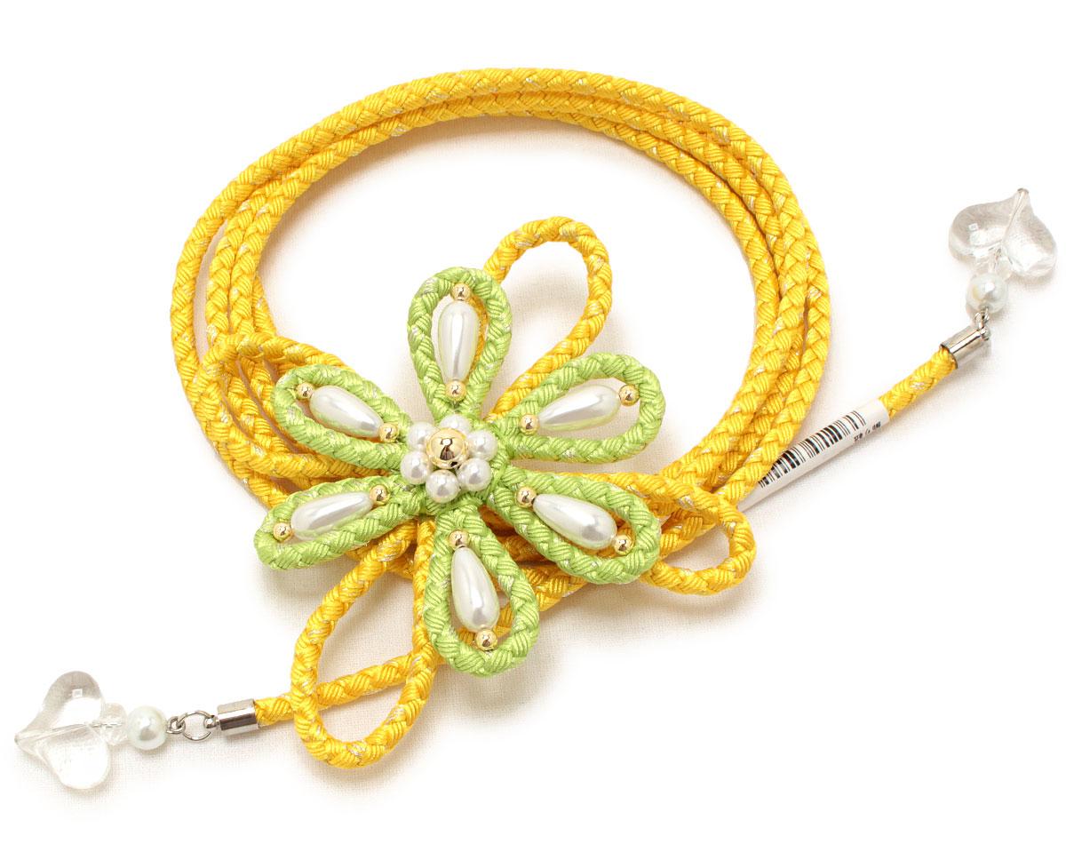 花の形が作られた浴衣用飾り紐