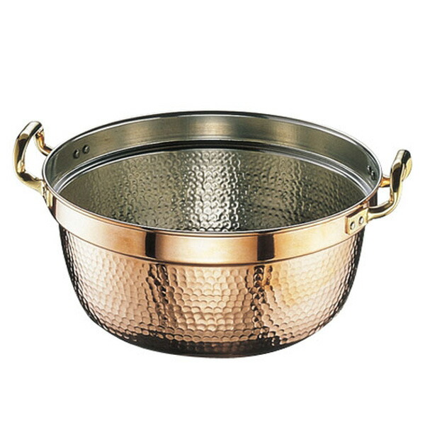 SW 銅 円付鍋 両手 42cm  42cm