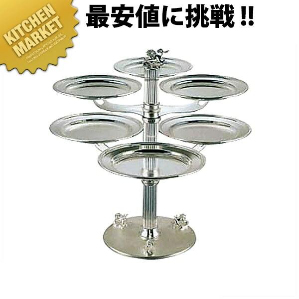 三枚皿スタンド二段 シルバー【業務用厨房機器のキッチンマーケット】