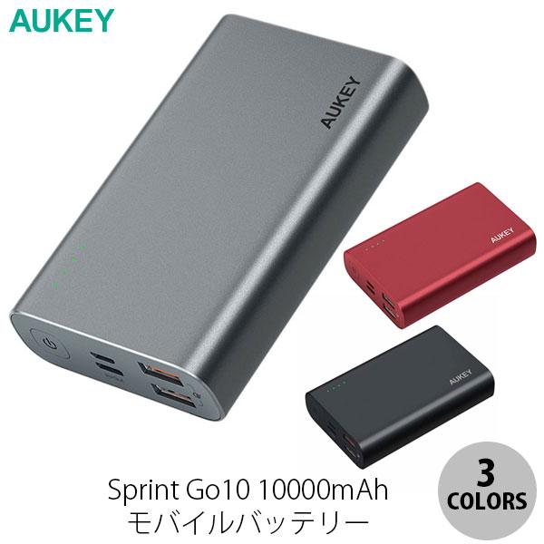 AUKEY モバイルバッテリー Sprint Go10 10000mAh 18W PD対応 [USB-C×1ポート/USB-A×2ポート]出力[USB-C×1ポート/Micro-USB×1ポート]入力  オーキー