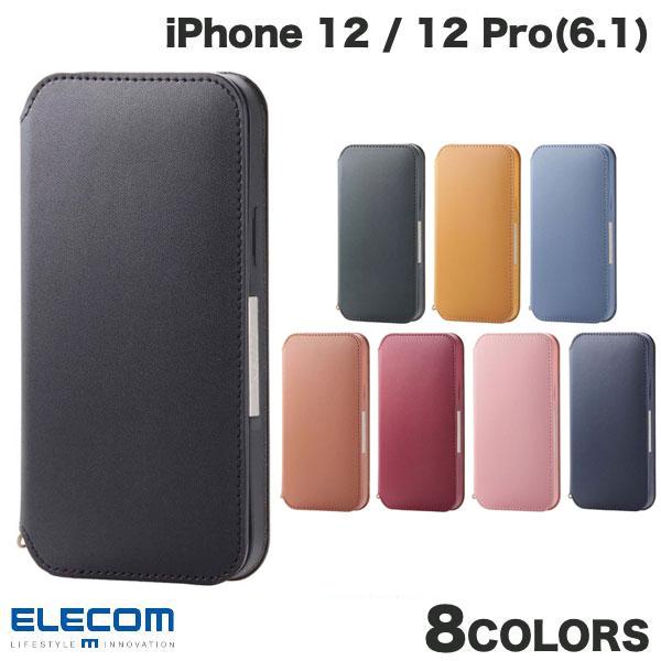 エレコム iPhone 12 / 12 Pro レザーケース 手帳型 NEUTZ 磁石付き