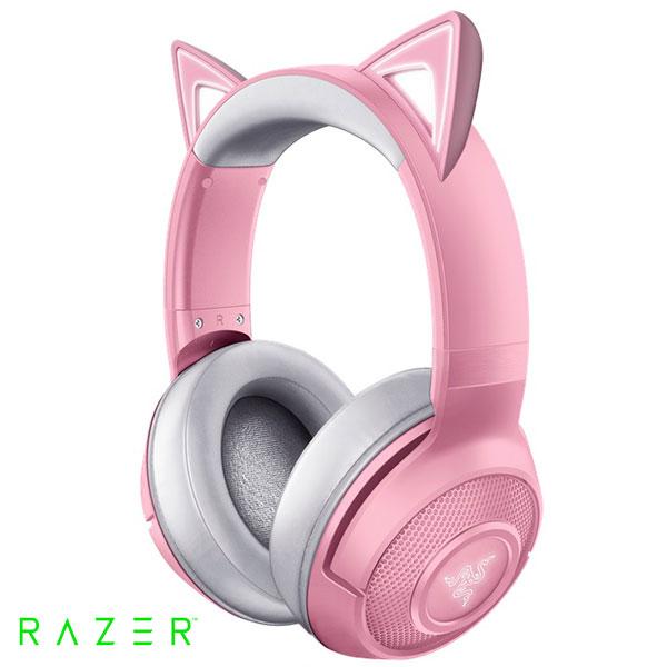 Razer Kraken BT Kitty Edition Bluetooth 5.0 ワイヤレス接続 ライティングエフェクト 対応 ネコミミ ゲーミング ヘッドセット Quartz Pink # RZ04-03520100-R3M1  レーザー