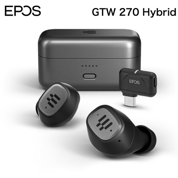 EPOS GTW-270 Hybrid Bluetooth 5.1 / USB Type-C ドングル aptX LL 対応 IPX5 防水 完全ワイヤレス ゲーミングイヤホン # 1000230  イーポス