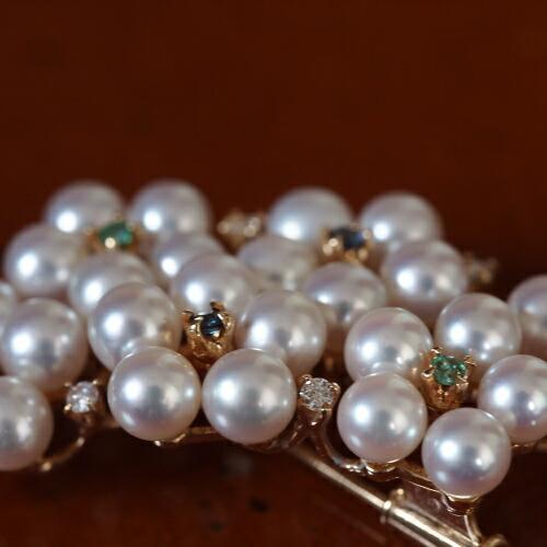 【パール】【ダイヤ】【ブローチ】【真珠】【あこや】【レディース】