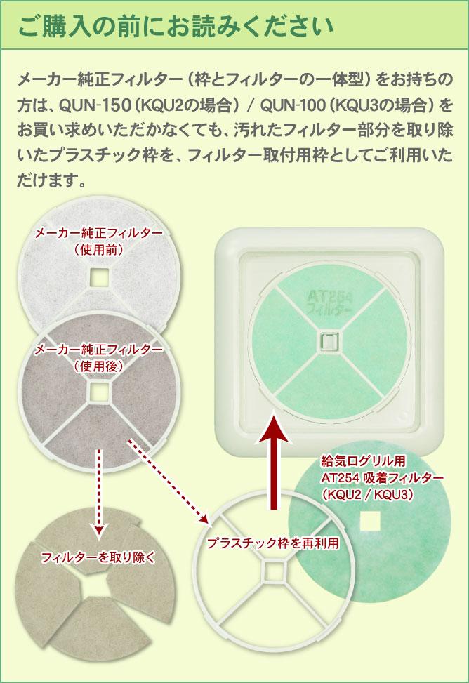 ご購入の前にお読みください:メーカー純正フィルター(枠とフィルターの一体型)をお持ちの方は、QUN-150(QU2/KQU2の場合)/QUN-100(QU3/KQU3の場合)をお買い求めいただかなくても、汚れたフィルター部分を取り除いたプラスチック枠を、フィルター取付用枠としてご利用いただけます。