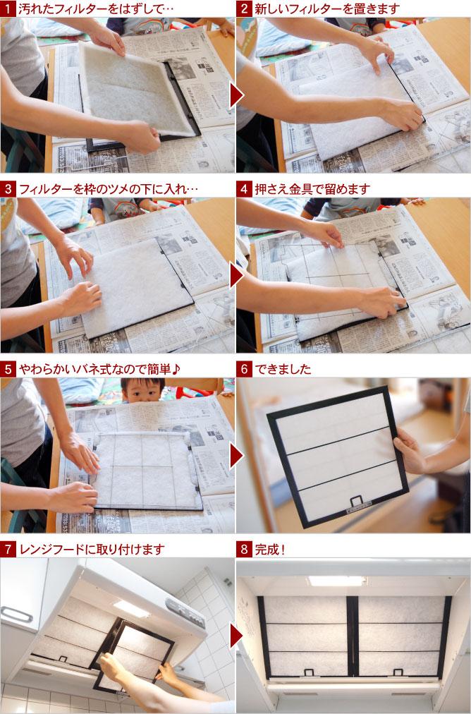 (1)汚れたフィルターをはずして… (2)新しいフィルターを置きます (3)フィルターを枠のツメの下に入れ… (4)押さえ金具で留めます (5)やわらかいバネ式なので簡単♪ (6)できました (7)レンジフードに取り付けます (8)完成!