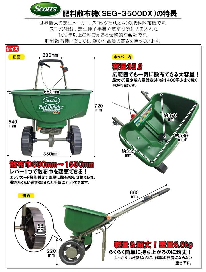 肥料散布機 デラックスエッジガード SEG-3500DX 特長1
