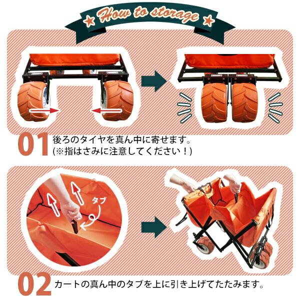 キャリーワゴン(オレンジ)折りたたみ方1