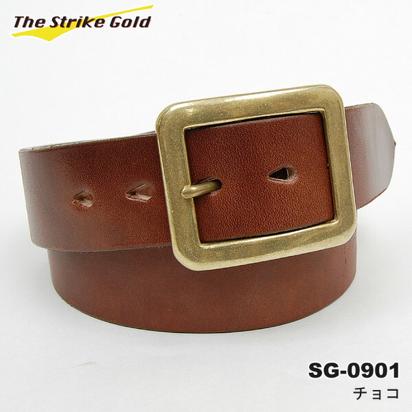 THE STRIKE GOLD( strike gold) Italian benz leather belt plane SG-0901 black